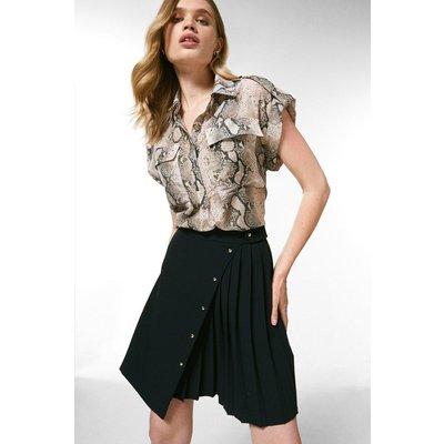 Karen Millen Pleated Detail A Line Skirt -, Black