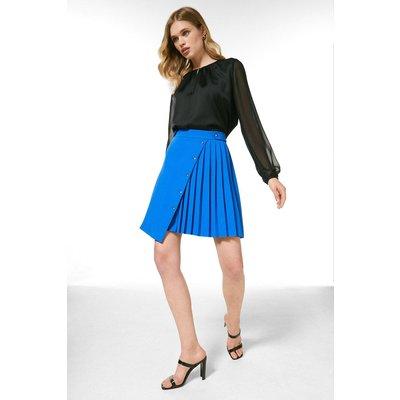 Karen Millen Pleated Detail A Line Skirt -, Blue
