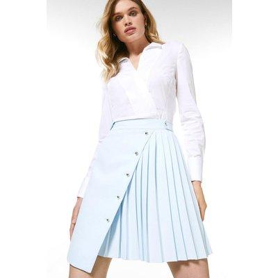 Karen Millen Pleated Detail A Line Skirt -, Pale Blue