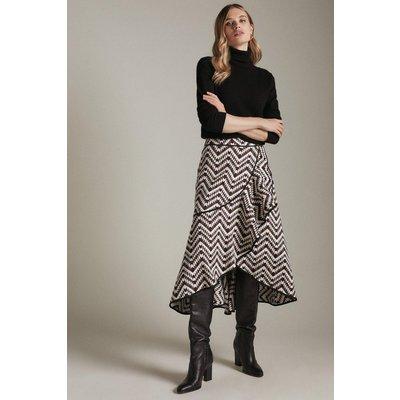 Karen Millen Geo Jacquard Wrap Frill Skirt -, Black