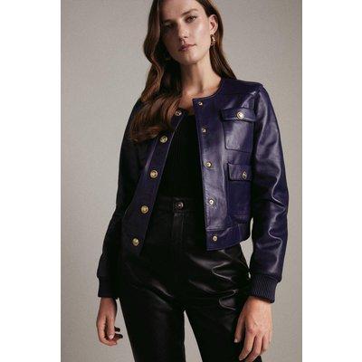Karen Millen Leather Pocket Bomber Jacket -, Blue