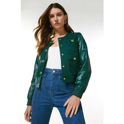 Karen Millen Leather Pocket Bomber Jacket -, Green