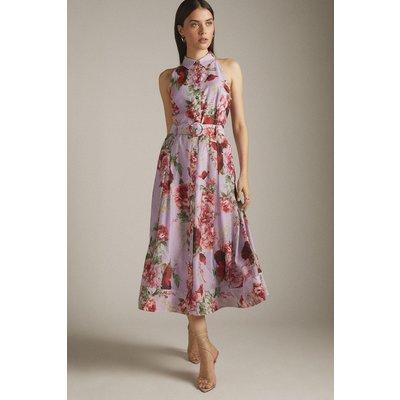 Karen Millen Km Rose Organdie Halter Shirt Dress -, Purple