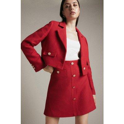Karen Millen Tweed TailoA Line Skirt -, Red