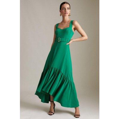 Karen Millen Petite Soft Peplum Hem High Low Dress -, Green