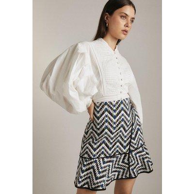 Karen Millen Geo Jacquard Wrap Peplum Woven Skirt -, Blue