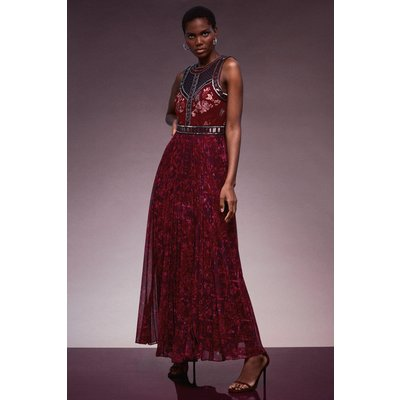 Karen Millen Bead And Embroidery Pleated Maxi Dress -, Red