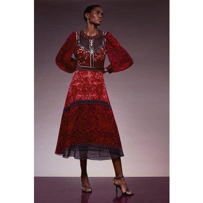 Karen Millen Bead And Embroidery Maxi Dress -, Red