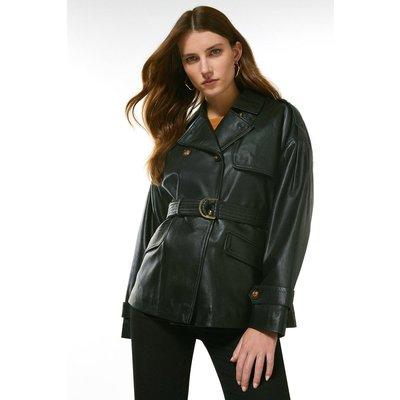 Karen Millen Leather Eyelet Belted Trench Jacket -, Black