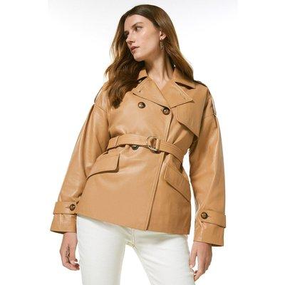 Karen Millen Leather Eyelet Belted Trench Jacket -, Tan