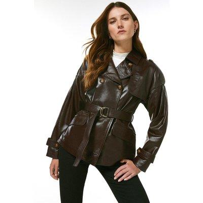 Karen Millen Leather Eyelet Belted Trench Jacket -, Red