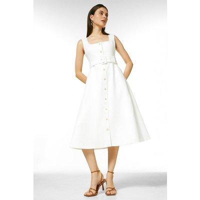 Karen Millen Square Neck Safari Belted Midi Dress -, Ivory