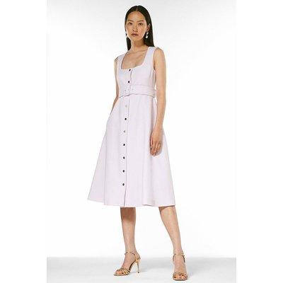 Karen Millen Square Neck Safari Belted Midi Dress -, Lilac