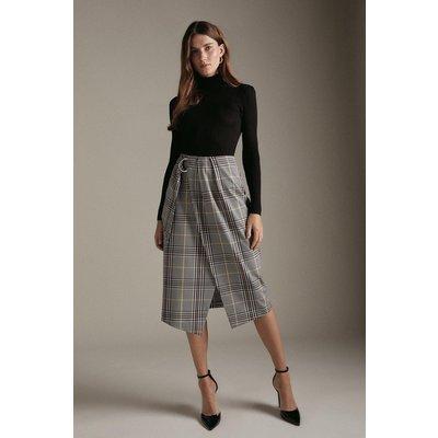 Karen Millen Tailored Check Wrap Midi Skirt, Multi