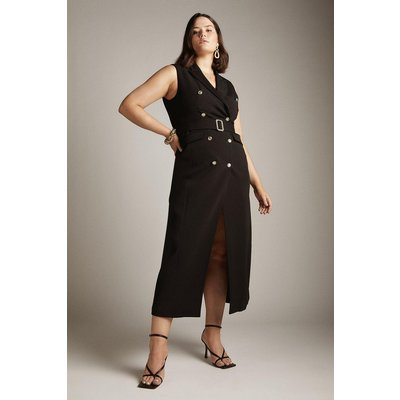 Karen Millen Curve Compact Viscose Belted Tux Maxi Dress -, Black