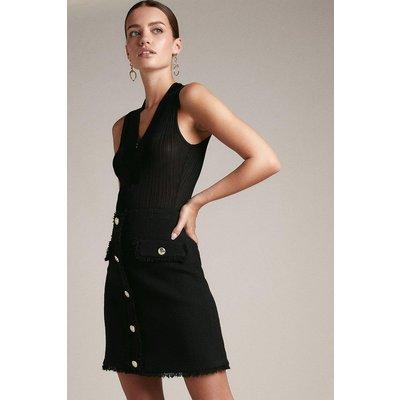Karen Millen Petite Frayed Edged Boucle A Line Skirt -, Black