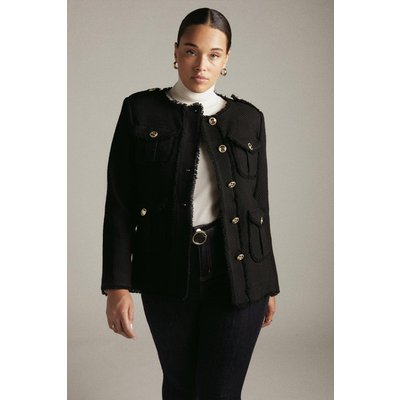 Karen Millen Curve Frayed Edged Textured Military Jacket -, Black
