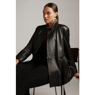 Karen Millen Curve Leather Notch Neck Short Coat -, Black