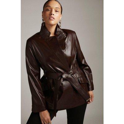 Karen Millen Curve Leather Notch Neck Short Coat -, Red