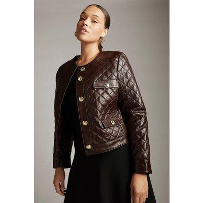 Karen Millen Curve Leather Quilted Trophy Jacket -, Red