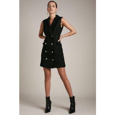 Karen Millen Petite Frayed Edged Textured Collared Dress -, Black