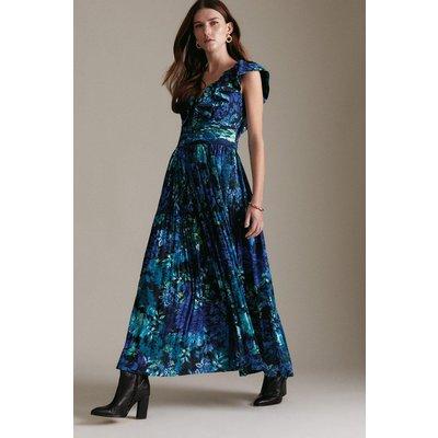 Karen Millen Floral Pleat Drama Structured Midaxi Woven Dress -, Purple