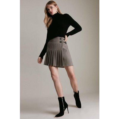 Karen Millen Country Check Pleated Kilt Skirt, Multi