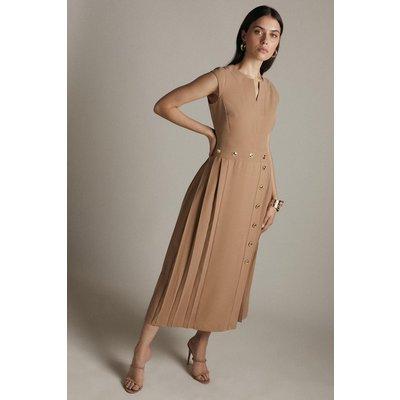 Karen Millen Pleated Military Button Midi Dress -, Camel