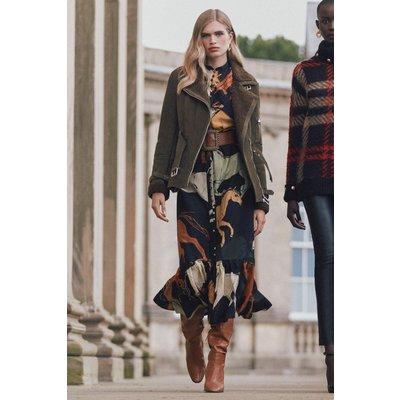 Karen Millen Silk Cotton Stallion Print Pintuck Woven Maxi Dress -, Black
