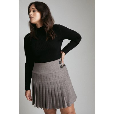 Karen Millen Curve Country Check Pleated Kilt Skirt, Multi