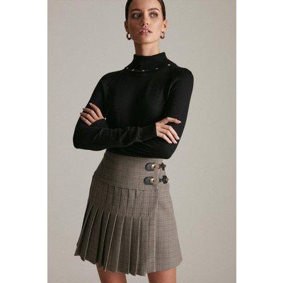 Karen Millen Petite Country Check Pleated Kilt Skirt, Multi