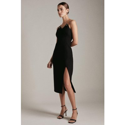 Karen Millen Petite Boucle Chain And Eyelet Pencil Dress -, Black