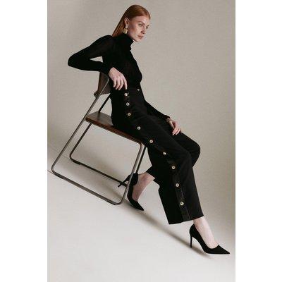Karen Millen Compact Stretch Button Cropped Trouser -, Black