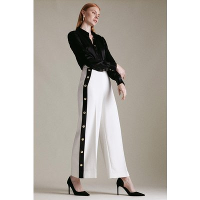 Karen Millen Compact Stretch Tipped Button Cropped Trouser -, Ivory