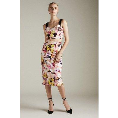 Karen Millen Figure Form Strappy Woven Midi Skirt -, Floral