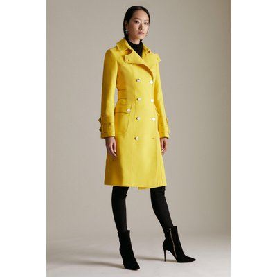 Karen Millen Italian Moleskin Military Button Coat -, Yellow