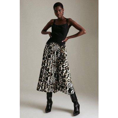 Karen Millen Leopard Pleated Skirt Stud Waist Midi Dress, Multi