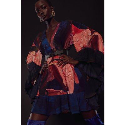Karen Millen Shadow Belted Drama Sleeve Woven Kimono -, Floral