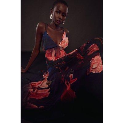 Karen Millen Shadow Strappy Drama Woven Maxi Dress -, Floral