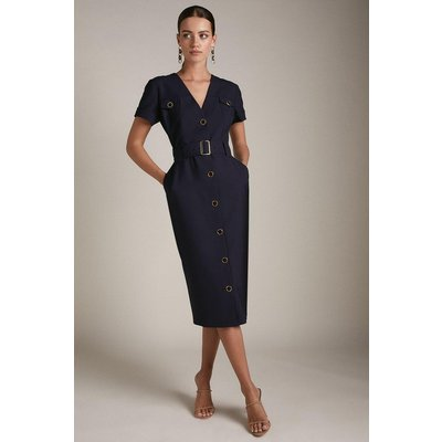 Karen Millen Petite Wool Blend Safari Pencil Dress -, Navy