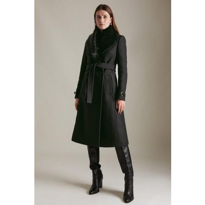 Karen Millen Italian Wool Faux Fur Collared Belted Coat -, Black