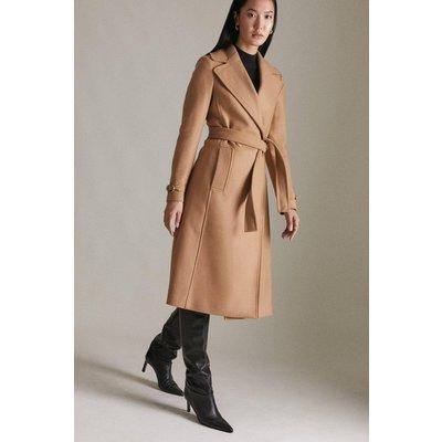 Karen Millen Italian Wool Blend Buckle Signature Coat -, Camel