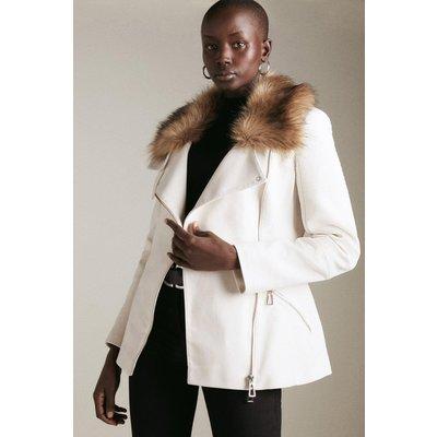 Karen Millen Italian Moleskin Faux Fur Collar Jacket -, Cream