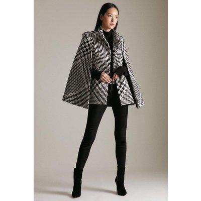 Karen Millen Oversized Check Wool Blend Military Cape Coat -, Blackwhite