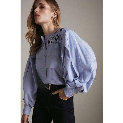 Karen Millen Embroidered Pleat Sleeve Woven Blouse -, Stripe
