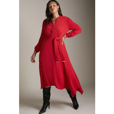 Karen Millen Curve Soft TailoButton Hi-low Hem Dress -, Red
