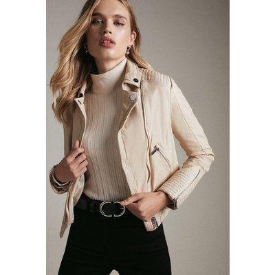 Karen Millen Washed Leather Shrunken Moto Biker Jacket -, Brown