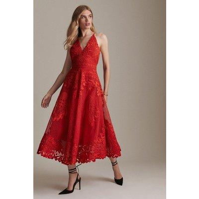 Karen Millen StructuApplique Halter Maxi Dress -, Red