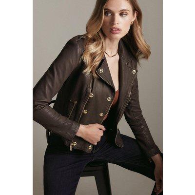 Karen Millen Shruken Washed Leather Military Biker -, Brown