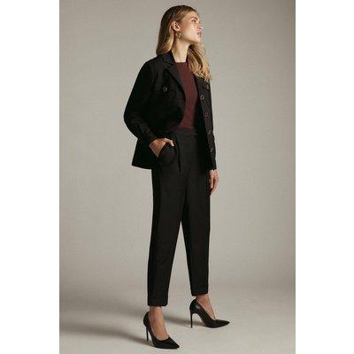 Karen Millen Stretch Wool Blend Tapered Turn Up Trouser -, Black